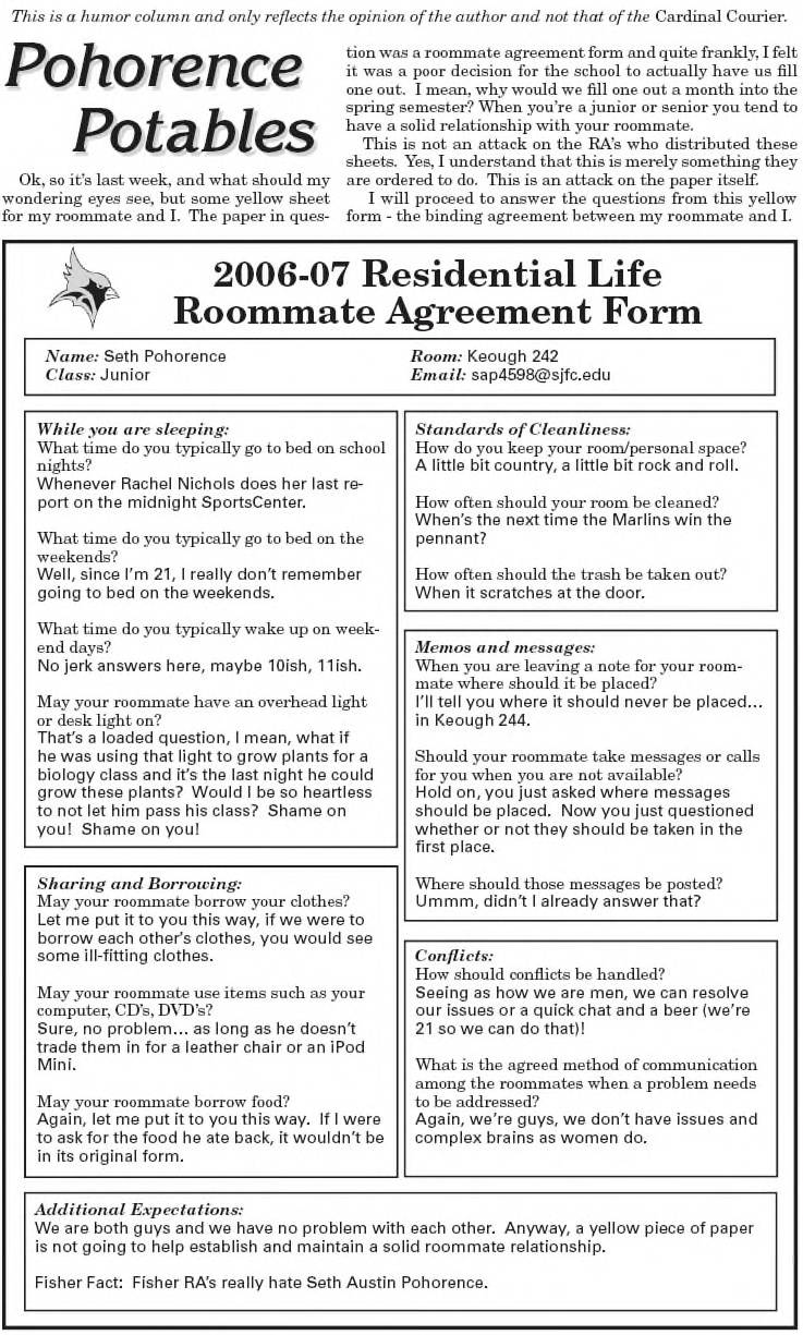 Classic Pohorence Potables – Roommate Agreement Form